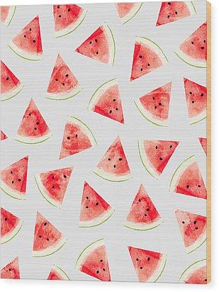 Watercolor Watermelon Pattern Wood Print by Uma Gokhale