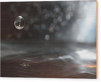 Waterdrop Wood Print by Cherie Duran