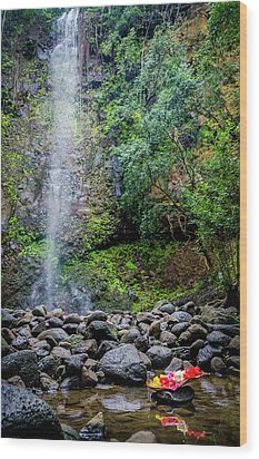 Waterfall And Flowers Wood Print
