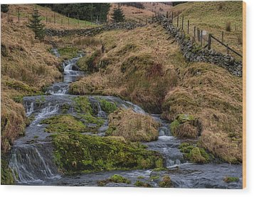 Wood Print featuring the photograph Waterfall At Glendevon In Scotland by Jeremy Lavender Photography