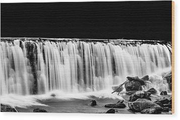 Waterfall At Night Wood Print