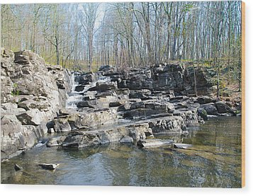 Wood Print featuring the photograph Waterfall At Wickecheoke Creek by Bill Cannon