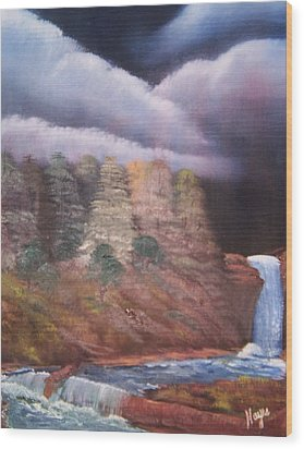 Wood Print featuring the painting Waterfall by Barbara Hayes