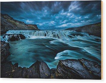 Waterfall Drama Wood Print