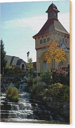 Wood Print featuring the photograph Waterfall Frankenmuth Mich by LeeAnn McLaneGoetz McLaneGoetzStudioLLCcom