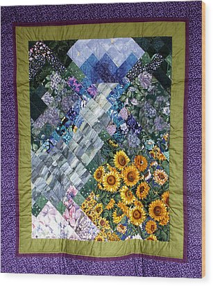 Waterfall Garden Quilt Wood Print by Sarah Hornsby