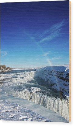Wood Print featuring the photograph Waterfall Gullfoss In Winter Iceland Europe by Matthias Hauser