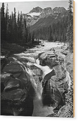 Wood Print featuring the photograph Waterfall In Banff National Park Bw by RicardMN Photography