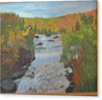 Waterfall In Fall Wood Print by Juanita Couch