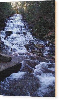 Waterfall In Georgia Wood Print by Angela Murray