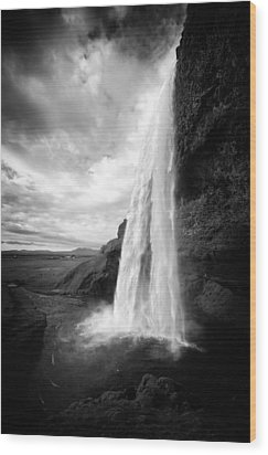 Wood Print featuring the photograph Waterfall In Iceland Black And White by Matthias Hauser