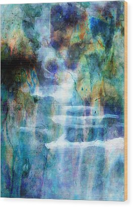 Waterfall Wood Print by Kathie Miller