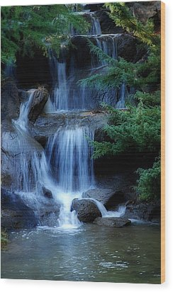 Waterfall Wood Print by Marion McCristall