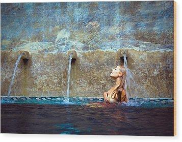 Waterfall Mermaid Wood Print by Karl Alexander