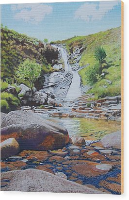 Wood Print featuring the mixed media Waterfall On Skye 2 by Constance Drescher