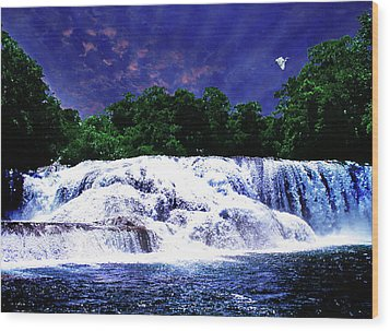 Waterfall Painting Waterfall Prints On Canvas - Agua Azul Wood Print by Zenisart Gallery