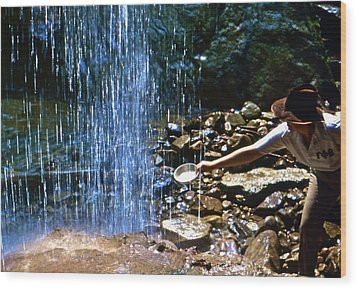 Wood Print featuring the photograph Waterfall Panner by Lori Miller