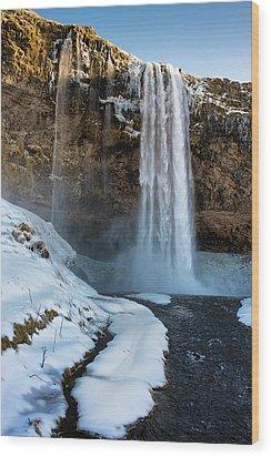 Waterfall Seljalandsfoss Iceland In Winter Wood Print by Matthias Hauser
