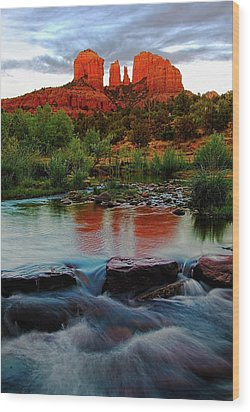 Waterfall Under Cathedral Rock Wood Print by Dave Dilli