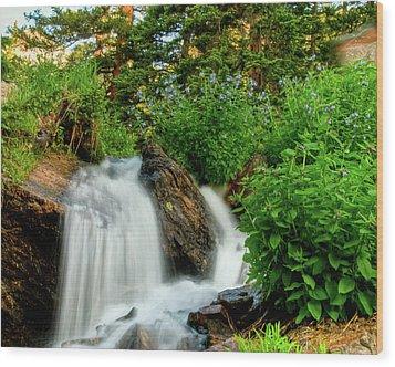 Waterfalls Above Dream Lake Wood Print by Harry Strharsky