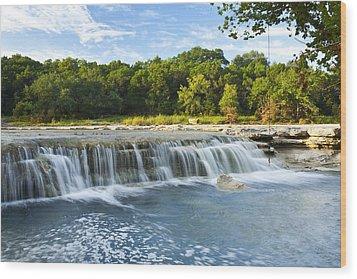 Waterfalls At Bull Creek Wood Print by Mark Weaver