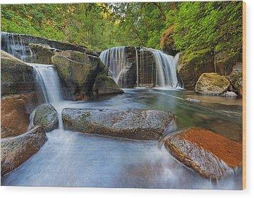 Waterfalls At Sweet Creek Falls Trail Wood Print