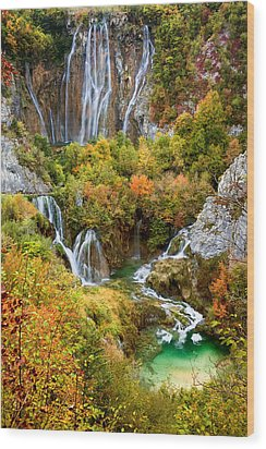 Waterfalls In Plitvice Lakes National Park Wood Print