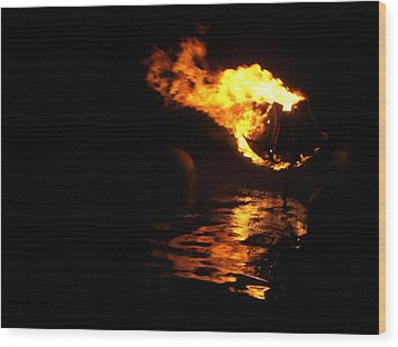 Waterfire 2007-1 Wood Print by Nancy Ferrier