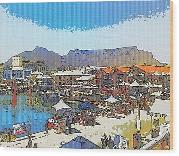Waterfront And Table Mountain Wood Print by Jan Hattingh
