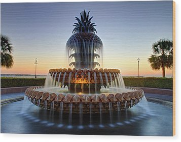 Waterfront Park Pineapple Fountain In Charleston Sc Wood Print by Pierre Leclerc Photography