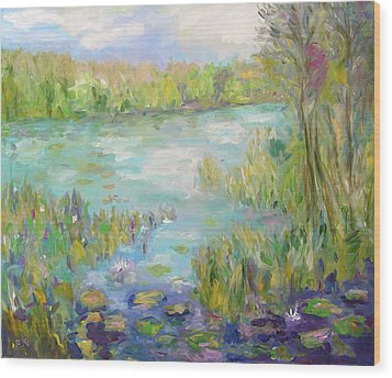 Wood Print featuring the painting Waterglades Park Florida by Barbara Anna Knauf