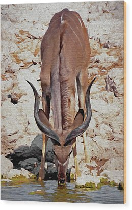 Wood Print featuring the digital art Waterhole Kudu by Ernie Echols