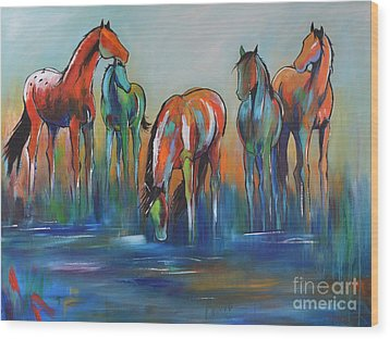 Wood Print featuring the painting Watering Hole 5 by Cher Devereaux