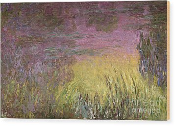 Waterlilies At Sunset Wood Print by Claude Monet