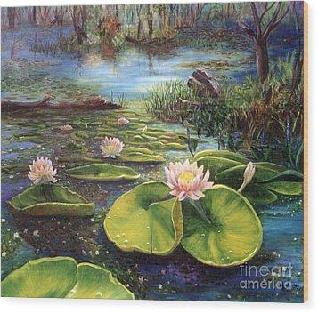 Waterlilies Wood Print by Renate Nadi Wesley