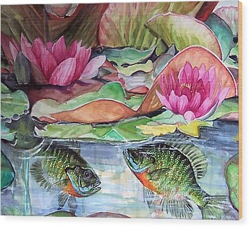 Waterlillies And Blue Giles Wood Print by Bette Gray