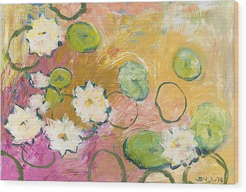 Waterlillies At Dusk Wood Print by Jennifer Lommers