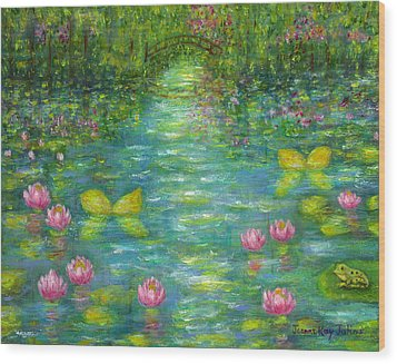 Waterlily Butterflies Wood Print by Jeanne Kay Juhos