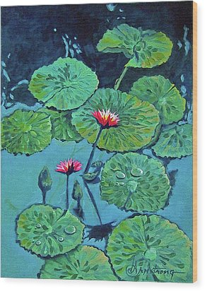 Waterlily Wood Print by Denise Armstrong