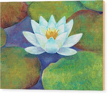 Wood Print featuring the painting Waterlily by Elizabeth Lock