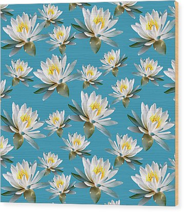 Wood Print featuring the mixed media Waterlily Pattern by Christina Rollo