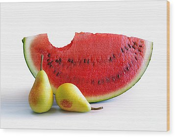 Watermelon And Pears Wood Print by Carlos Caetano