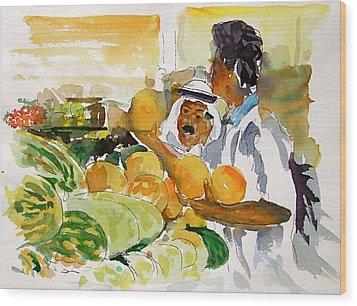 Watermelon Man Wood Print by Mike Shepley DA Edin