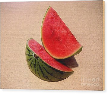 Watermelon Study Wood Print by Lucyna A M Green