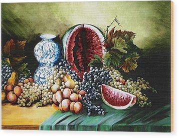 Watermelon With Blue Delft Jar Wood Print