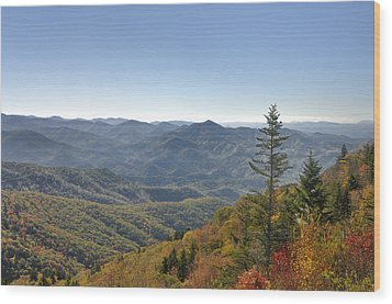 Waterrock Knob On Blue Ridge Parkway Wood Print by Darrell Young