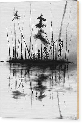Wood Print featuring the painting Waters Edge by Denise Tomasura