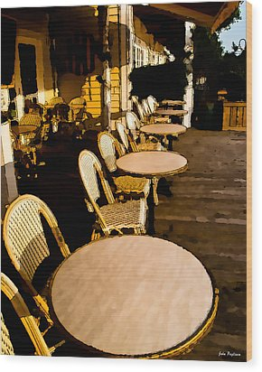 Waterside Cafe Wood Print