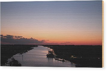 Waterway Sunset #1 Wood Print