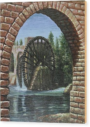 Wood Print featuring the painting Waterwheels  by Laila Awad Jamaleldin